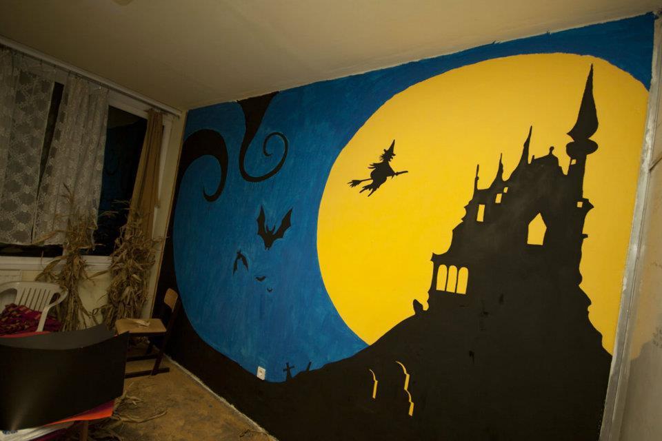 Halloween fal dekoráció festés