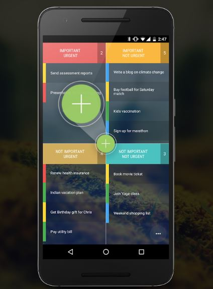 Tasks eisenhower android alkalmazás